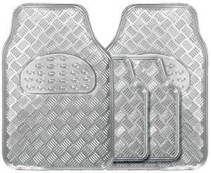 Chrome Checker Plate Floor Mats - Set 4