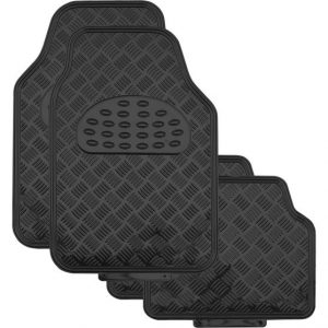 Black Checker Plate Floor Mats - Set 4
